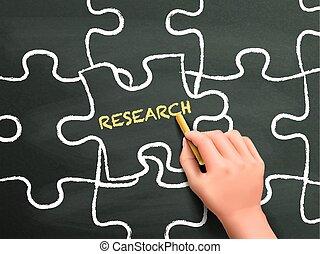 ricerca, pezzo enigma, mano, parola, scritto