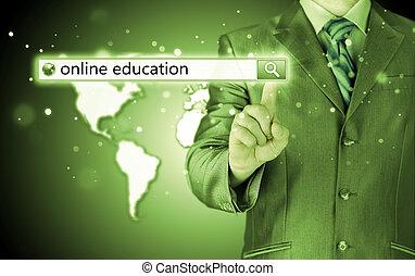 ricerca, sbarra, screen., virtuale, scritto, educazione linea