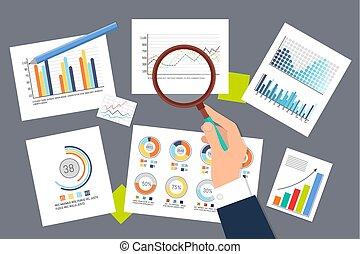 ricerca, schemi, analisi, infographics