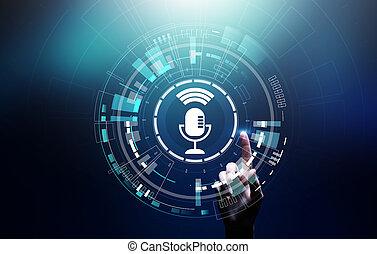 ricerca, virtuale, controllo, riconoscimento, simbolo, screen., microfono, voce