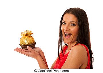 ricevuto, donna, grande, gift., caramella, cioccolato, presa a terra, felice