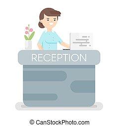ricezione., vettore, albergo, stile, appartamento, illustrazione