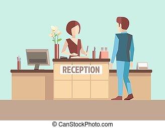 ricezione., vettore, stile, appartamento, concetto, cliente