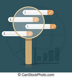 richiedere, ricerca, vettore, analisi, infographics
