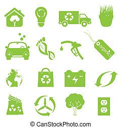 riciclaggio, ambiente, set, pulito, icona