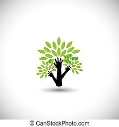 riciclaggio, concetto, natura, eco, albero, -, foglie, porzione, v, mano