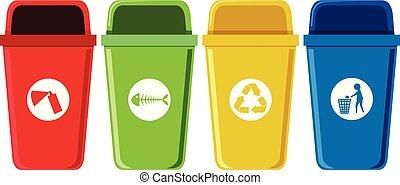 riciclaggio, set, bidoni