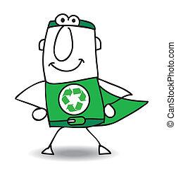 riciclaggio, superhero, indietro, venuta