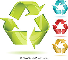riciclare, 3d, vettore, lucido, icona