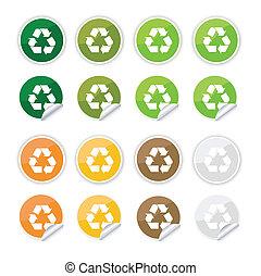 riciclare, adesivi, icone