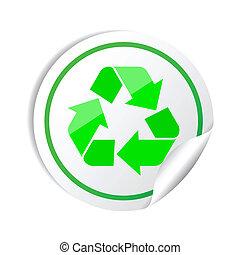 riciclare, adesivo, simbolo