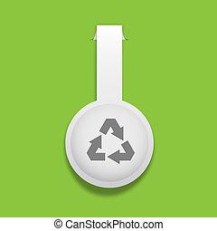 riciclare, adesivo, vettore, simbolo