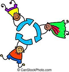 riciclare, bambini