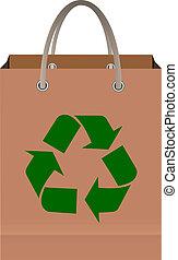 riciclare, borsa, simbolo, carta