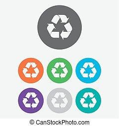 riciclare, bottoni, icon., vettore, cerchio, simbolo., rotondo