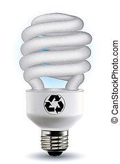 riciclare, bulbo, cfl, simbolo