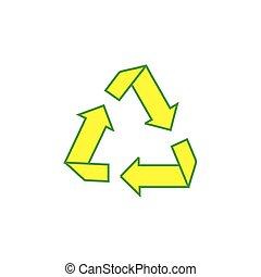 riciclare, carta, vettore, triangolo, simbolo, frecce