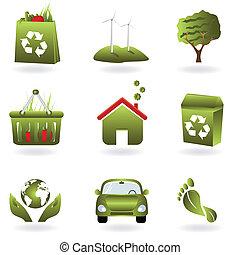 riciclare, eco, verde, simboli