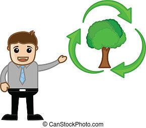 riciclare, esposizione, uomo, verde, icona
