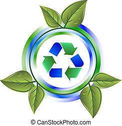 riciclare, foglie, verde, icona