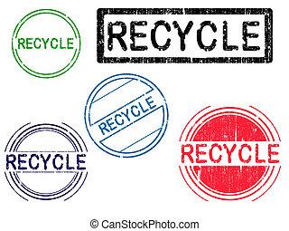 riciclare, -, francobolli, 5, grunge