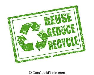 riciclare, francobollo, riutilizzare, ridurre