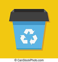 riciclare, icona, vettore, bidone