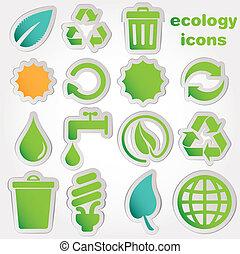 riciclare, icone, ecologia, collectio