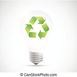 riciclare, illustrazione, bulbo, luce