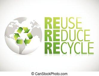 riciclare, riutilizzare, segno, globo, ridurre