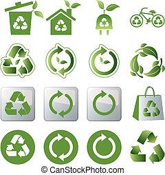 riciclare, set, icone