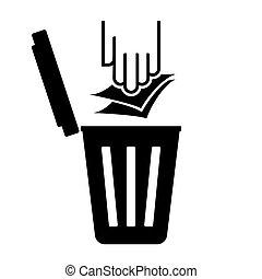 riciclare simbolo, carta, -, immondizia