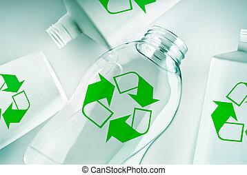 riciclare simbolo, contenitori, plastica