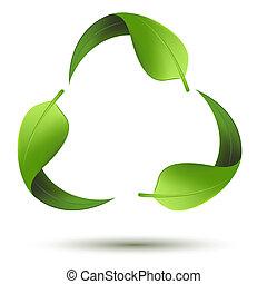 riciclare simbolo, foglia