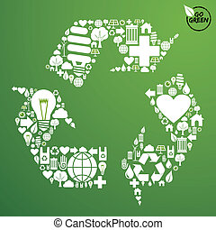 riciclare simbolo, set, verde, icone