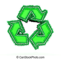riciclare simbolo, sfondo bianco, 3d