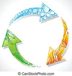 riciclare, terra, simbolo, elemento