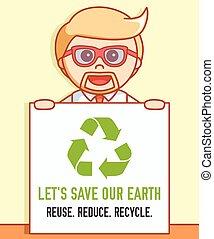 riciclare, terra, uomo affari