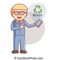 riciclare, uomo affari