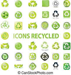 riciclare, vario, icone