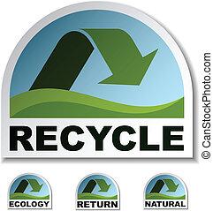 riciclare, verde, vettore, adesivi, freccia