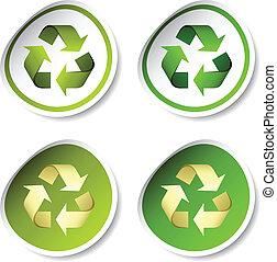riciclare, vettore, adesivi