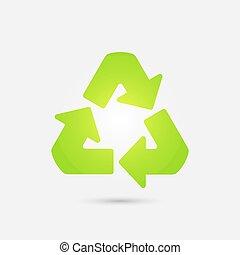 riciclare, vettore, simbolo., icona