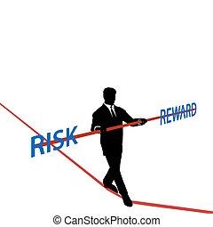 ricompensa, rischio, affari, fune, equilibrio, uomo