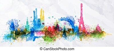 ricoprire, città, silhouette, parigi