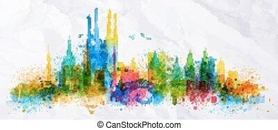 ricoprire, città, silhouette