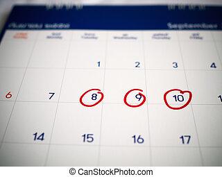 ricordare, giorni, marcato, tre, importante, calendario, cerchio, appointment., o, rosso, promemoria