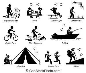 ricreativo, stile di vita, ricreazione esterna, activities.