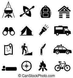 ricreazione, ozio, campeggio, icone
