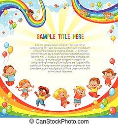 ride., sottobicchiere, giù, diapositiva, rainbow., sagoma, bambini, rullo